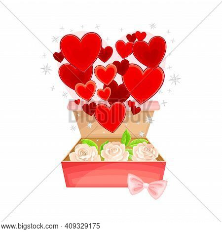 Open Gift Box With Bow, Rose Flowers Inside And Fluttering Red Hearts As Valentine S Day Attribute V