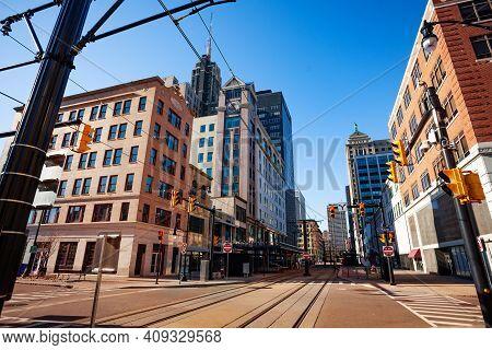 Streetcar Tram Line On The Main Street In Buffalo, Ny, Usa