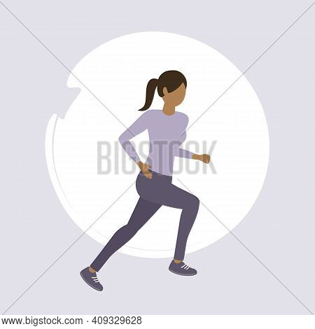 Girl Exercising By Jogging Healthy Lifestyle Fitness Design Vector Illustration Eps10
