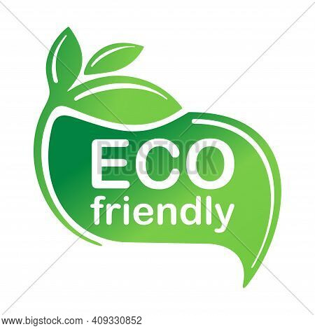 Eco Friendly Green Emblem For Healthy Or Natural Food Products, Cosmetics, Packaging Marking Or Clea