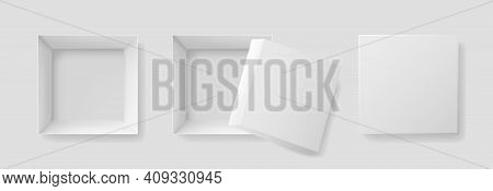 Open Box With Top View. Mockup Of White Box For Gift, Shoebox, Christmas And Pizza. Square Paper Pac