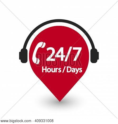 Service Of 24 Hour And 7 Day. Icon Of 24 Hour And 7 Day. Timetable Of Delivery, Call, Support Of Cus
