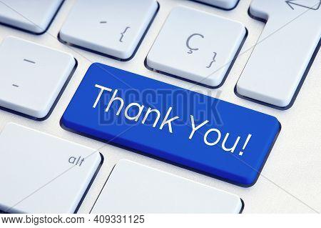 Thank You Word On Blue Computer Keyboard Key
