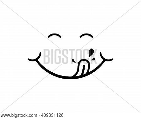Tongue With Drool. Logo For Tasty Eat. Character Of Hungry And Pleasure. Black Cartoon Emoji On Whit