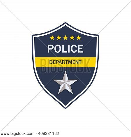 Police Badge. Shield Of Cop Department. Badge Of Officer Police. Emblem Of Sheriff. Symbol Of Securi