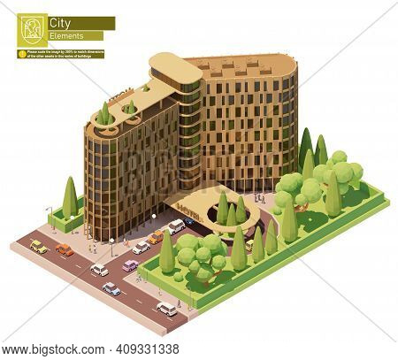 Vector Isometric Modern Hotel Building. Hotel Building Exterior With Cars And People