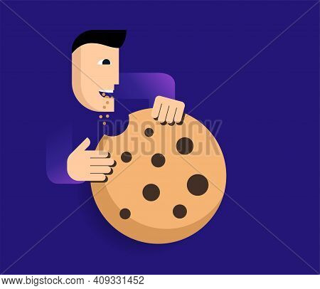 Accept Cookies Vector Icon On Blue Background. Abstract Character Eating Big Cookie. Vector Illustra