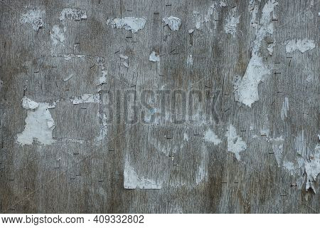 Wood Texture Of Gray Dirty Plywood Wall With Pieces Of White Paper