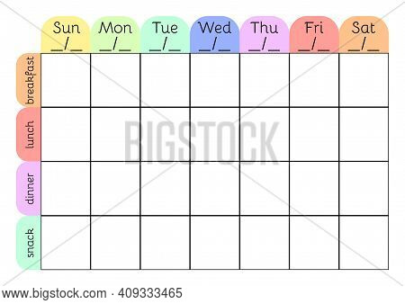 Weekly Menu A4 Printable Planner Template. Meal Schedule Blank. Undated Weekly Vector Calendar.