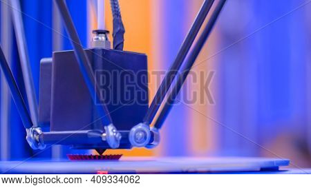 Three Dimensional Printing Machine Printing 3d Plastic Model At Modern Technology Exhibition, Factor
