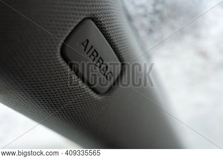 Airbag In The Car. Airbag On The Car Pillar. Driver\'s Airbag. Driver\'s Life Saving System.