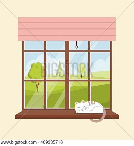 Window Overlooking The Spring Or Summer Landscape. Cat Sleeps On The Windowsill. Forest Landscape Ou