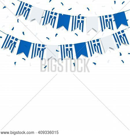 Vector Illustration Of Greek Independence Day. Garland With The Flag Of Greece On A White Background