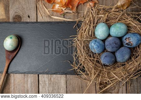 Colorful Easter Eggs With Space For Text