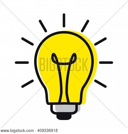 Light Bulb In A Linear Style. Concept Of Ideas And Inspiration. Vector Illustration Isolated On Whit
