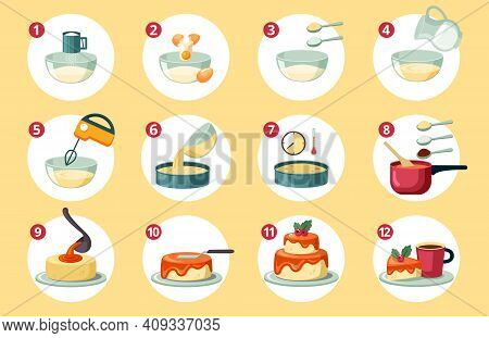 Step By Step Preparation Birthday Cake Set. Sifting Flour Creating Dough And Adding Eggs And Milk Be