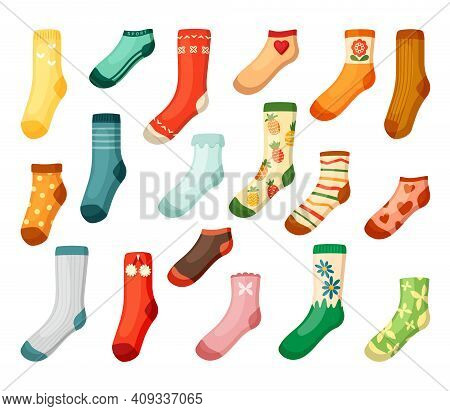 Adults And Kids Colored Socks Set. Warm Green Textiles With Daisies Bright Woolen With Red Pineapple