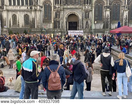 Brussels, Belgium, February 20, 2021 - Many people who manifest for the end of the confinement which affects the cultural environment.