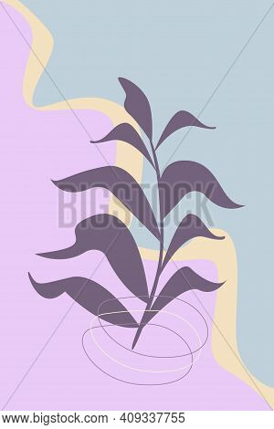 Botanical Wall Art. Foliage Line Art Drawing With Abstract Shape. Minimalist Plant Art Design For Pr