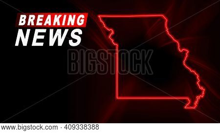 Breaking News Map Of Missouri, Outline Red Glow Map, On Dark Background