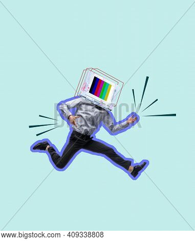Contemporary Art Collage. Young Man Headed Of Tv Set Jumping Isolated Over Light Blue Background. Co