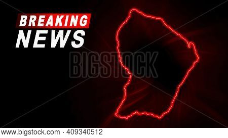 Breaking News Map Of French Guiana, Outline Red Glow Map, On Dark Background