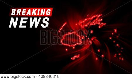 Breaking News Map Of Fiji, Outline Red Glow Map, On Dark Background