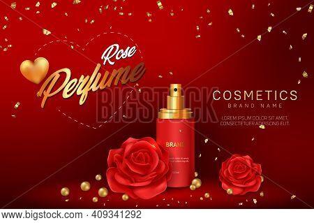 Rose Perfume Cosmetic Advertising Banner Vector Template Design