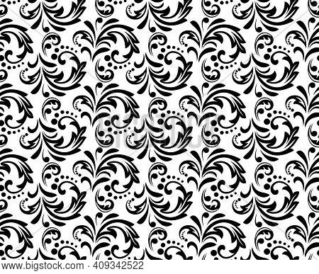 Flower Pattern. Seamless White And Black Ornament. Graphic Vector Background. Ornament For Fabric, W
