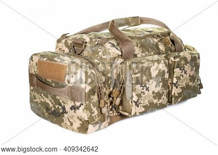 A Bag Containing Magazines On A White Background. Bag For Magazine Firearms Pouch Version With A Tub