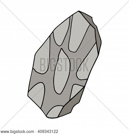 Cute Cartoon Doodle Stone Age Tool Isolated On White Background. Prehistoric Artefact.