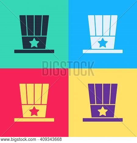Pop Art Patriotic American Top Hat Icon Isolated On Color Background. Uncle Sam Hat. American Hat In