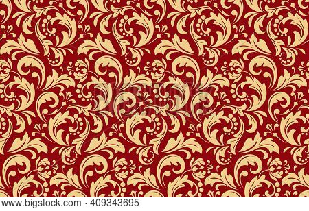 Flower Pattern. Seamless Gold And Red Ornament. Graphic Vector Background. Ornament For Fabric, Wall