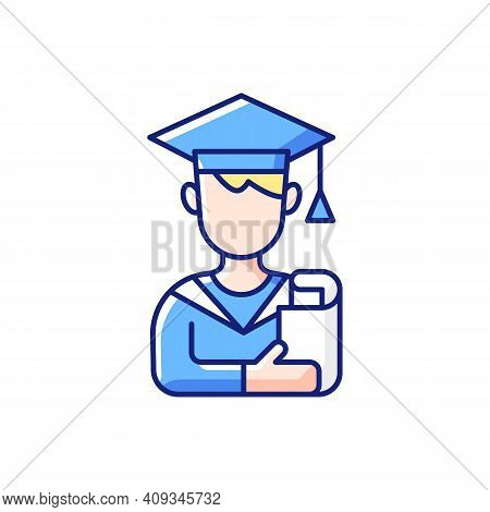 Male Student Rgb Color Icon. Early Adulthood. Establishing Identity. Life Stage Between Adolescence