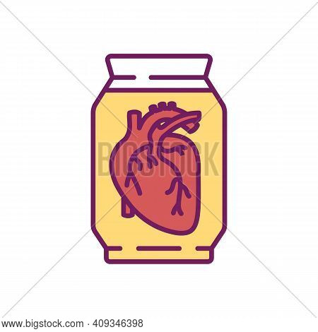Human Heart Rgb Color Icon. Fluid Preserved Specimen. Formalin Fixation For The Prolonged Preservati