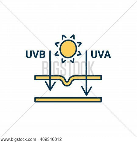 Sunburn Production Rgb Color Icon. Ultraviolet Rays. Deep Penetration Into Skin. Uvb And Uva. Premat