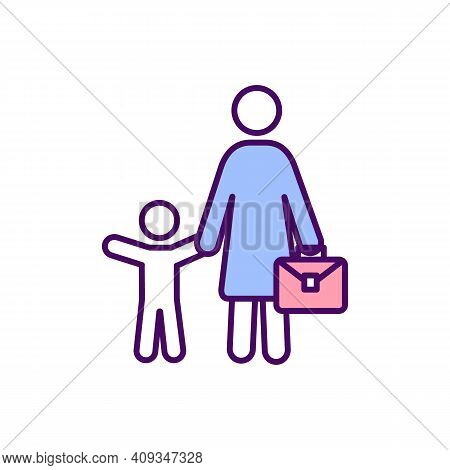 Working Mother Rgb Color Icon. Performing Work And Raising Children. Executive Woman. Job And Parent