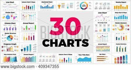 30 Infographics. Column, Bar, Line Charts. Business Financial Reports. Marketing Structure. Daily, W