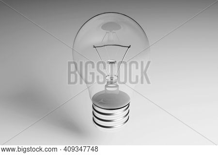 Incandescent Light Bulb Close-up On A Gray Metal Background. 3d Rendering. Transparent Bulb With Met