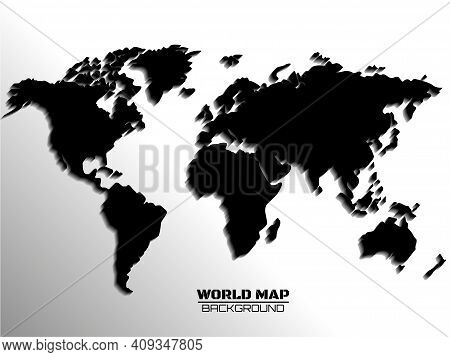 Abstract World Map With Shadow. Map Of Paper. Vector Illustration