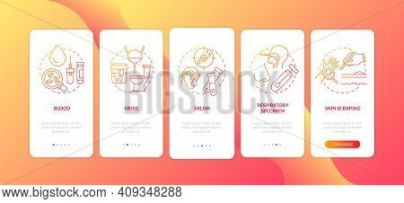 Laboratory Specimen Types Onboarding Mobile App Page Screen With Concepts. Saliva, Skin Scraping Wal