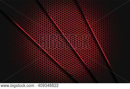 Abstract Red Slash Dark Grey Triangle With Red Line On Hexagon Mesh Pattern Design Modern Luxury Fut