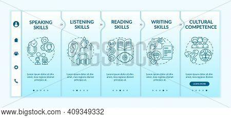 Foreign Language Learning Competencies Onboarding Vector Template. Listening Skills. Cultural Compet