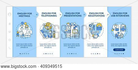 Business English Aims Onboarding Vector Template. Foreign Language For Presentations, Job Interviews