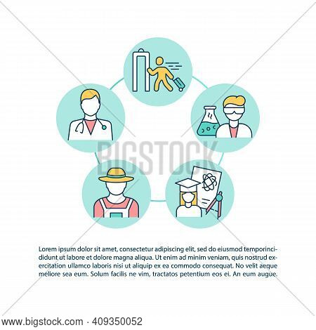 Travel Ban Exemption Categories Concept Icon With Text. Entry Ban For Medical Workers. Ppt Page Vect