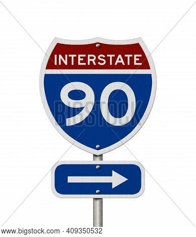 I-90 Interstate Usa Red And Blue Highway Road Sign Isolated Over White 3d Illustration