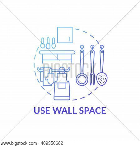 Use Wall Space Blue Gradient Concept Icon. Cookware On Wall Idea Thin Line Illustration. Cleaning St