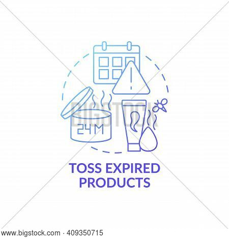 Toss Expired Products Blue Gradient Concept Icon. Cleaning Bathroom From Unnecessary And Expiration