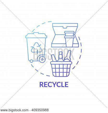 Recycle Blue Gradient Concept Icon. Container For Things Items Idea Thin Line Illustration. Recycled