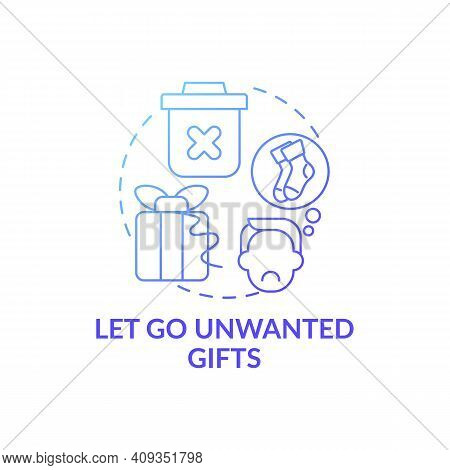 Let Go Unwanted Presents Blue Gradient Concept Icon. Cleaning And Minimize Trash In House Idea Thin